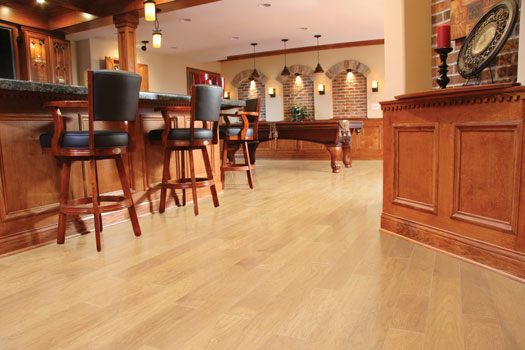 Unlike solid hardwood, engineered hardwood can be installed at any grade, even over concrete slab