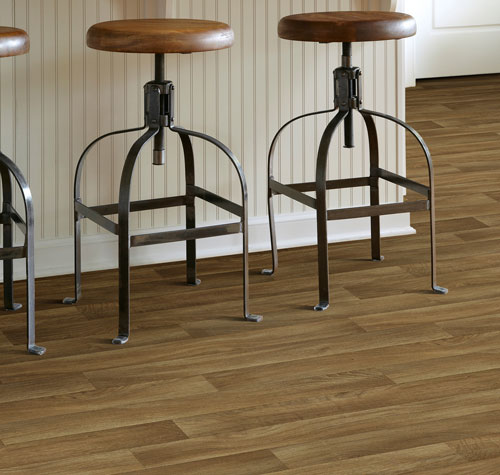 Sheet vinyl provides realistic tile, stone and wood visuals for your basement