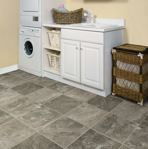 Vinyl tile is a cost-effective basement flooring option – and is moisture, soil and stain resistant