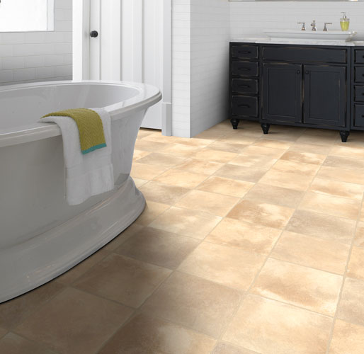 Sheet vinyl is a durable, budget-friendly option that provides the look of natural tile and stone