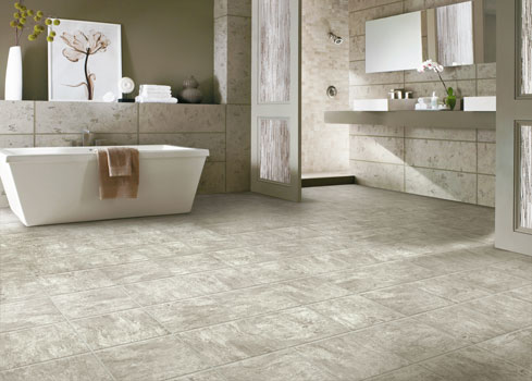 Vinyl tile is moisture and slip resistant, and can also be installed without grout, making it easier to clean