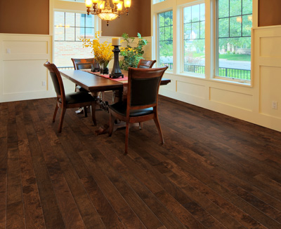 Hardwood floors and engineered hardwood floors are popular for dining rooms because they provide a classic, elegant look