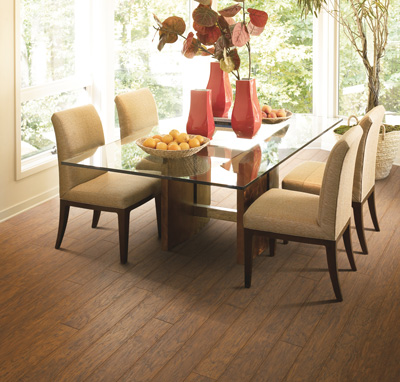 Laminate flooring is a budget-friendly choice to bring the look of wood into your dining room
