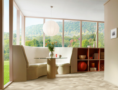 Sheet vinyl is a practical choice for informal dining areas because it easier to maintain with no grout lines