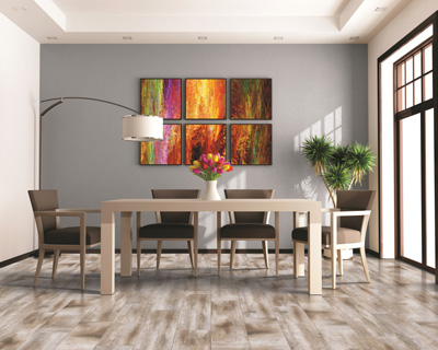 Ceramic and porcelain tiles are durable, clean easily, and can bring a sophisticated look to your dining area
