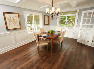 Vinyl tile and vinyl plank flooring offer style and performance at an affordable price for your dining area