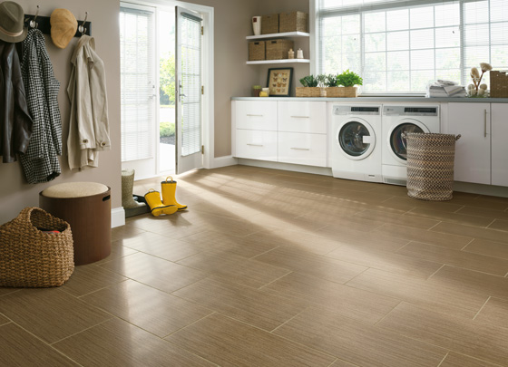 Vinyl tile offers the look of stone or porcelain tile, and includes scratch, moisture, mildew and tear resistance