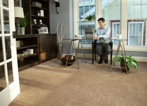 Carpet is a popular choice for home offices because it can muffle sound and is comfortable to walk on