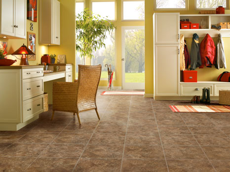 Vinyl tile in an office looks like real tile or stone, but is more durable