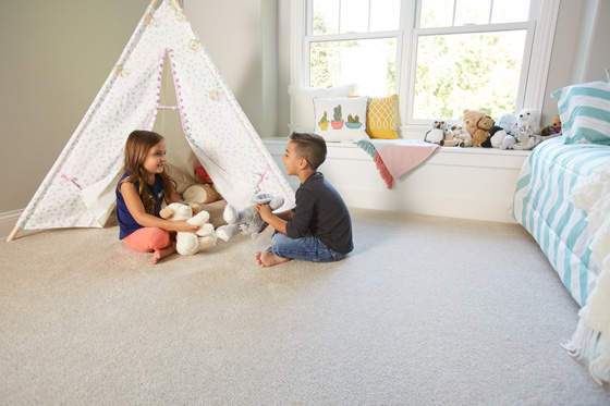 Carpet is one of the most kid friendly flooring options available; it is soft, comfortable and easy to clean