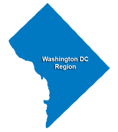Washington DC Service Regions Map for carpet, flooring, & window
