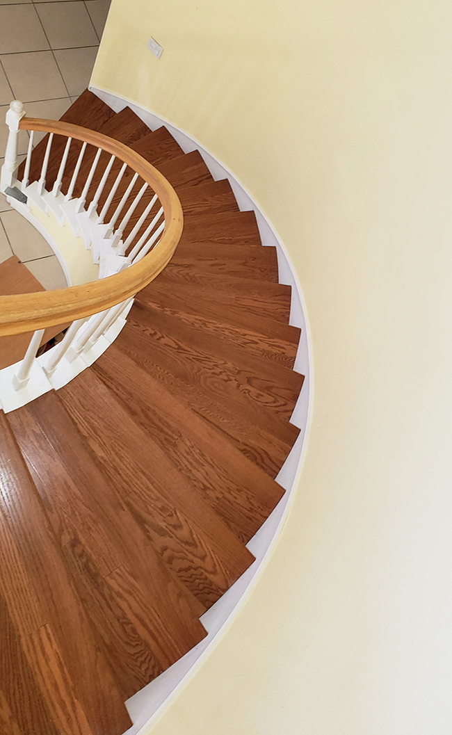 Accolade engineered hardwood on stairs