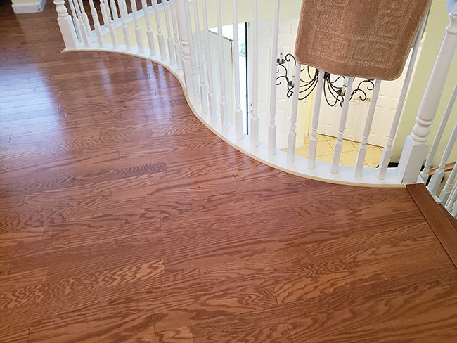 Accolade durable hardwood flooring on the staircase