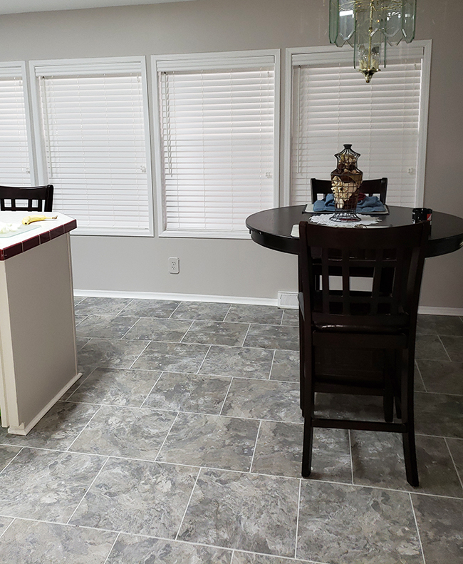 faux wood blinds in the kitchen