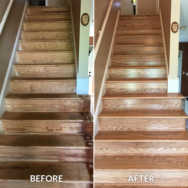 wood look stairs before and after