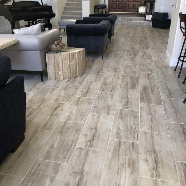 Modern Tile Gives Las Vegas Home A Big, Tile Floors In Living Room