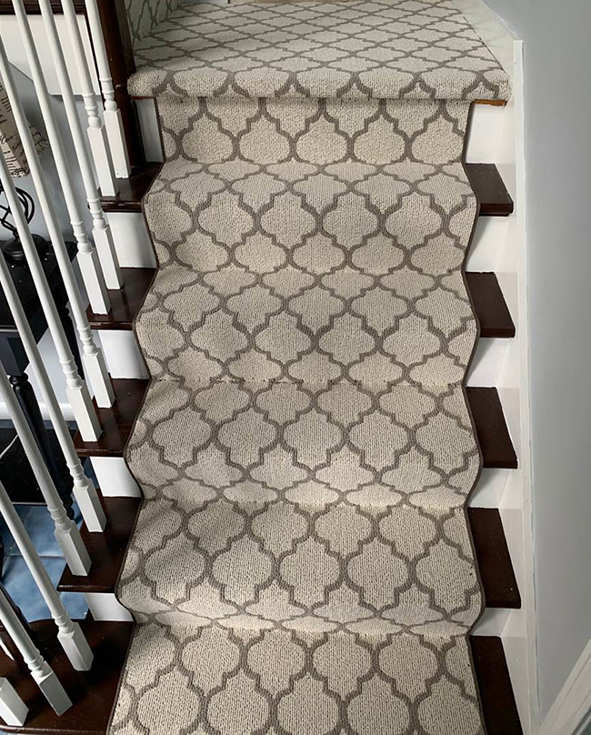 pattern carpet runner on stairs