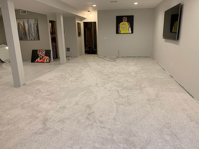 plush carpet in the basement