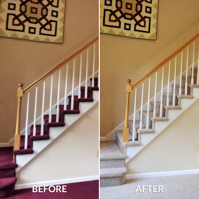 hardwood stairs before. plush carpet stairs after