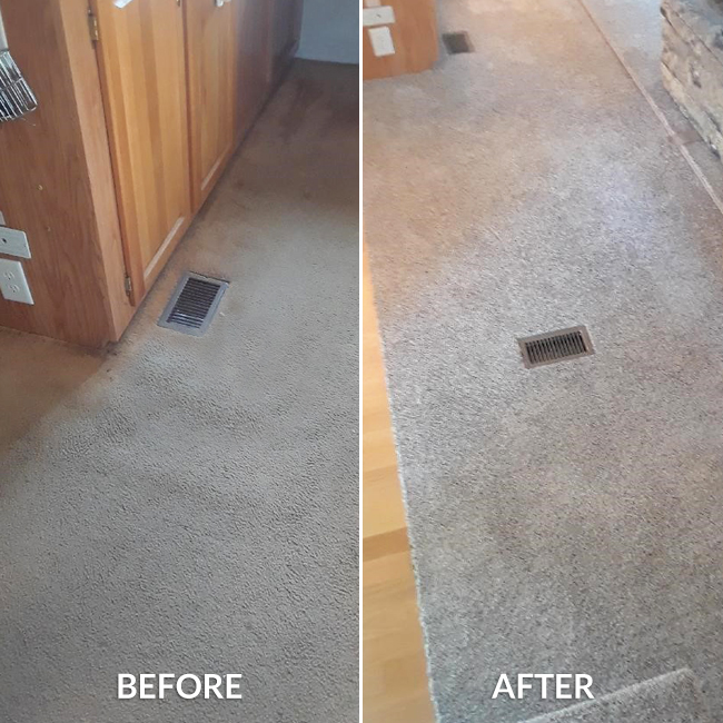 frieze carpet in a summer home before and after
