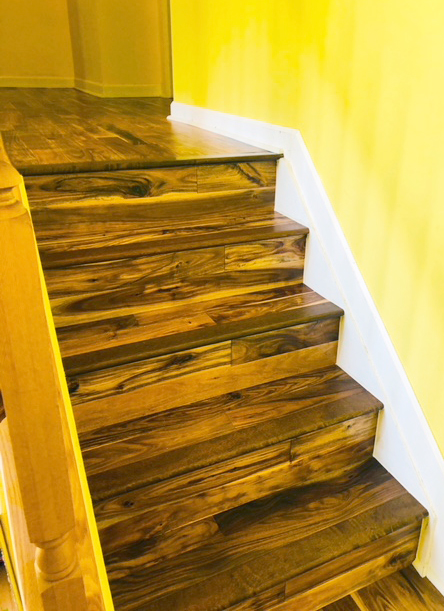 solid hardwood on the stairs