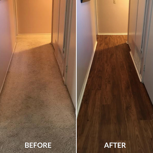 waterproof vinyl plank flooring in the hallway