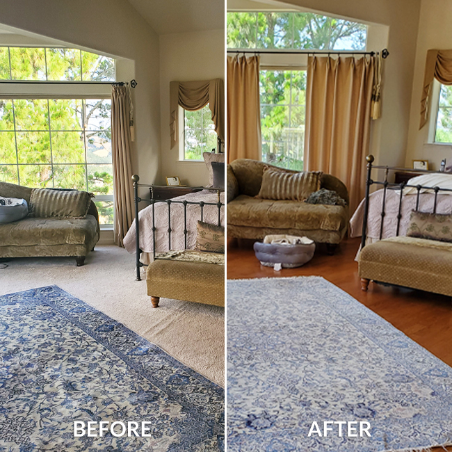 Before and After: carpet and engineered hardwood