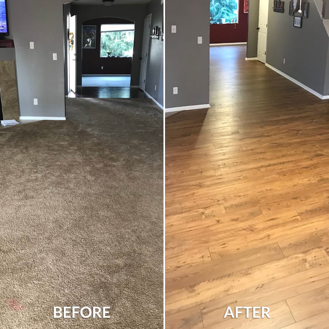 before and after: carpet and laminate flooring