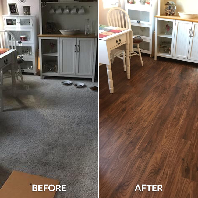 Before and After: Carpet and waterproof vinyl plank flooring in the dining room