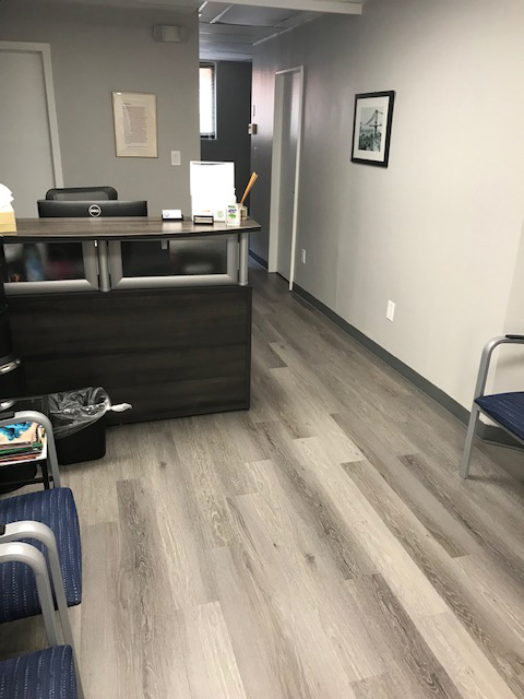 commercial vinyl plank flooring in an office