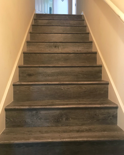 vinyl plank flooring on the stairs