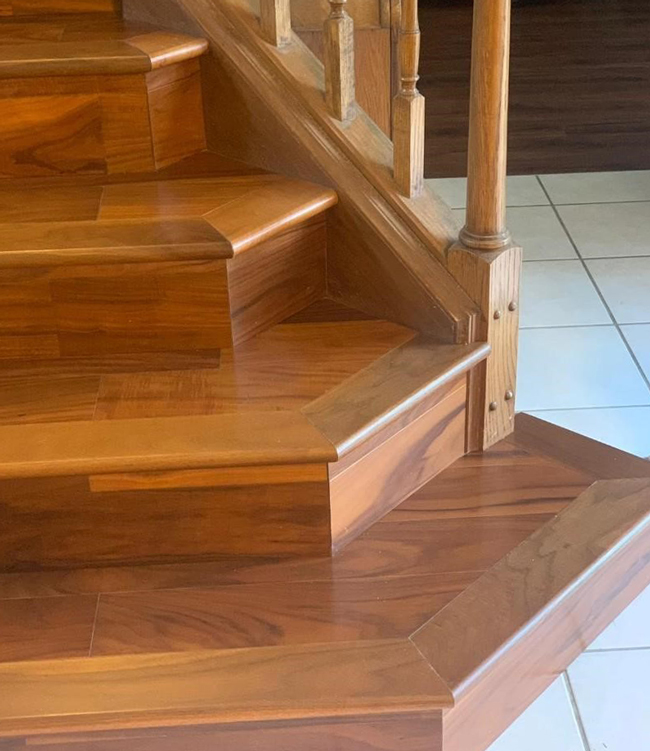 engineered hardwood on the stairs