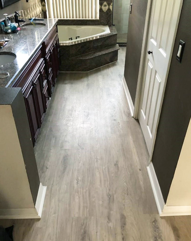 vinyl plank flooring in the bathroom