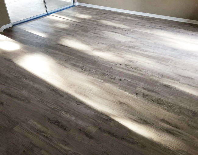 vinyl plank flooring in the living room