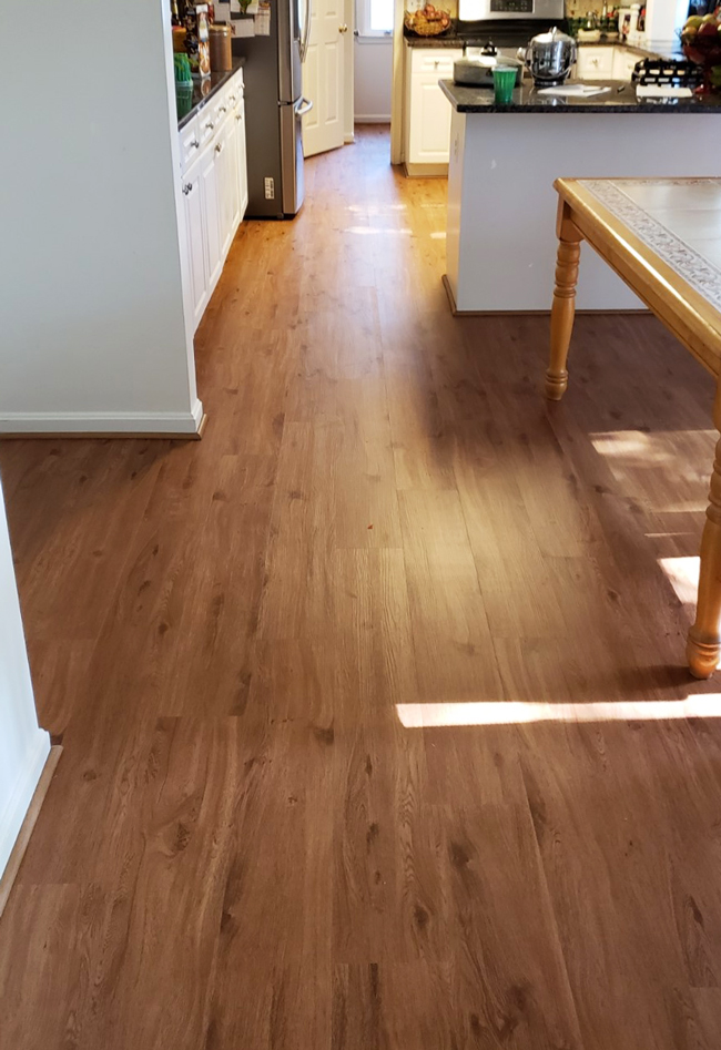 waterproof vinyl plank flooring in the kitchen