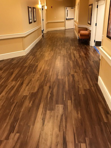 commercial vinyl plank in a healthcare facility