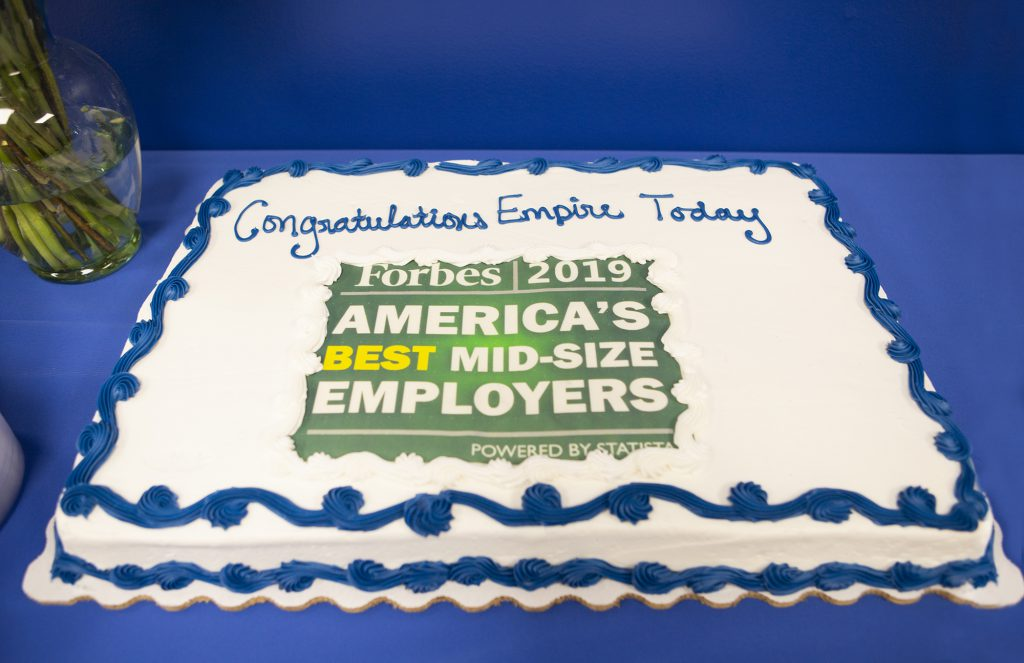 Empire Today cake for Forbes America's Best Midsize Employer list