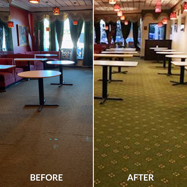 before and after commercial carpet of restaurant