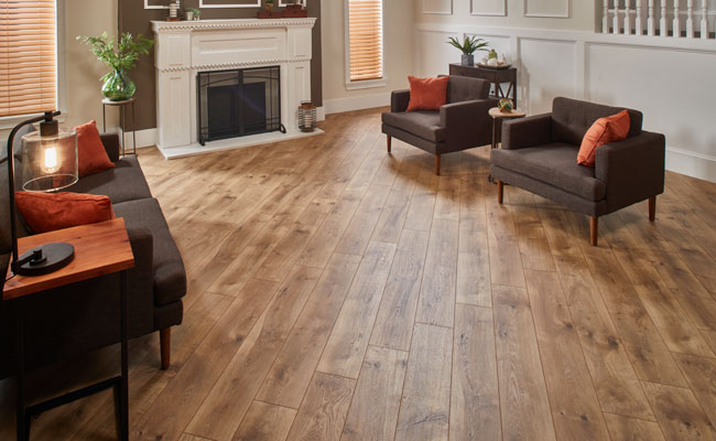 laminate flooring with matching accent decor