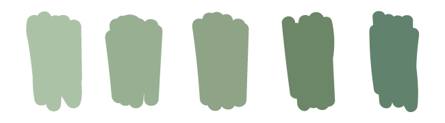dusty green color swatches
