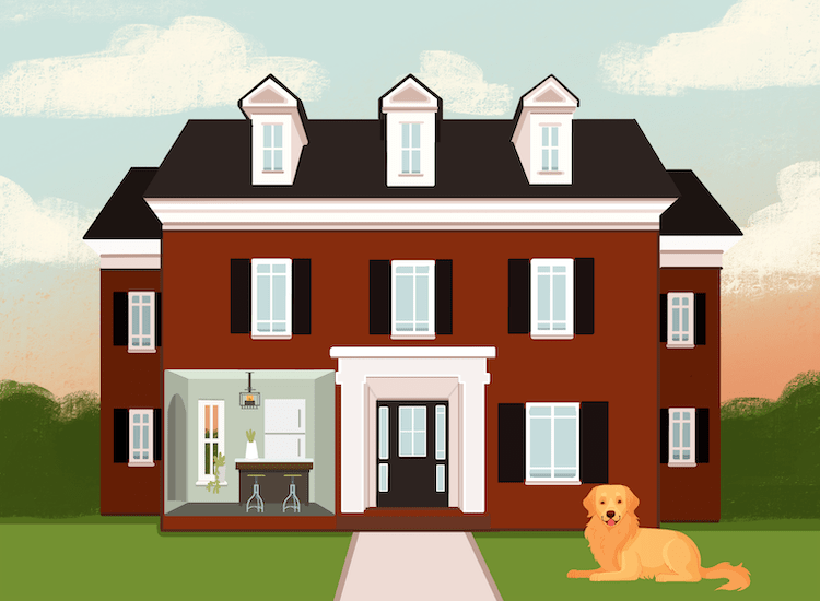 A Golden retriever outside a colonial style home