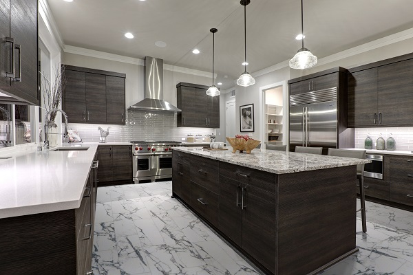 vinyl tile with a marble look in the kitchen