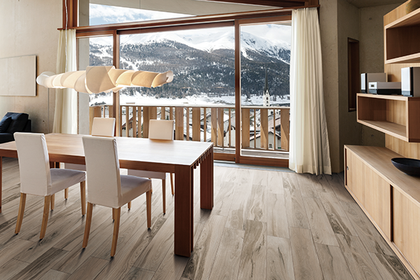 authentic wood look porcelain tile in the dining room