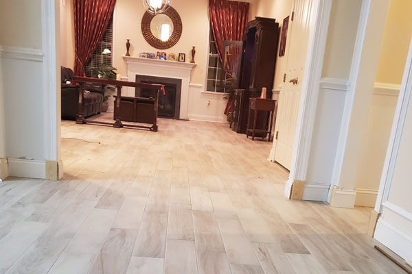 wood look porcelain tile in a living room