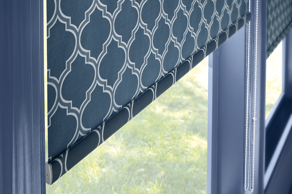 roller shades with blue and white pattern