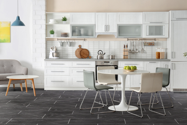 Black and white marble vinyl tile kitchen floor